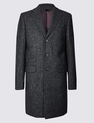 M&S Collection LuxuryMarks and Spencer Pure Wool Textured Overcoat