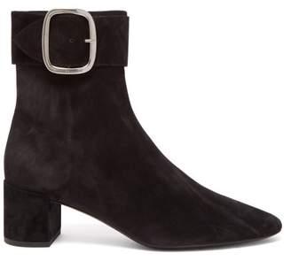 Saint Laurent Joplin Suede Buckle Ankle Boots - Womens - Black