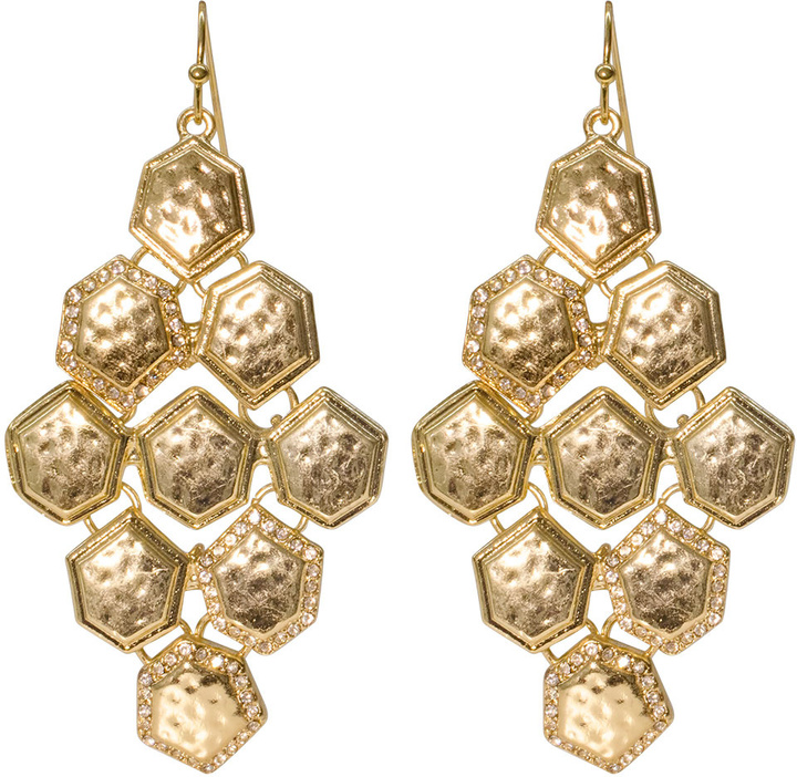 Cara Accessories Honeycomb Chandelier Earrings