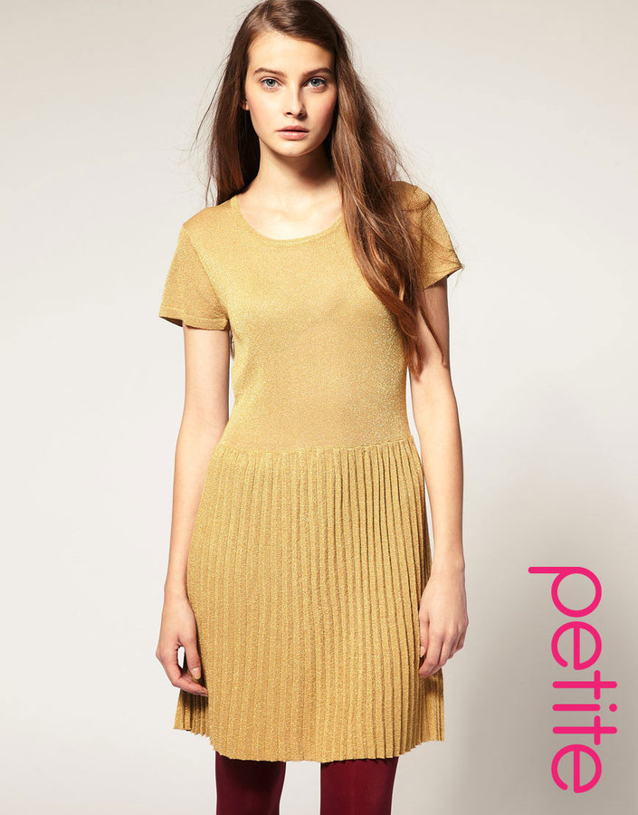 Asos Metallic Knitted Dress With Dropped Waist