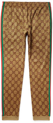 Gucci Webbing-Trimmed Logo-Print Tech-Jersey Sweatpants