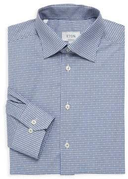 Eton Contemporary Fit Gingham-Print Cotton Dress Shirt