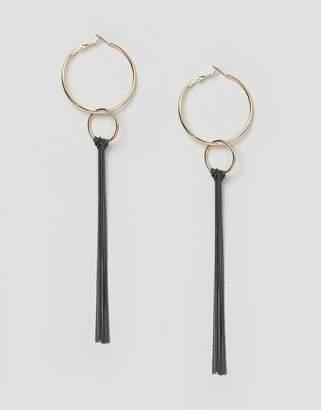 Missguided circle metal drop hoop earring