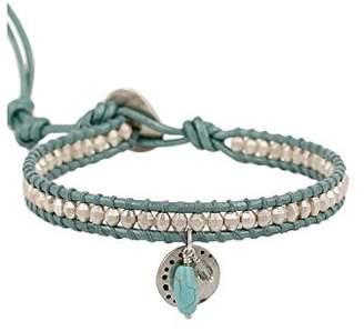Chan Luu Beaded Single Wrap Bracelet on Aqua-Color Leather with Charms