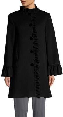 Sofia Cashmere Ruffle-Trimmed Wool & Cashmere Coat