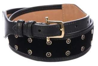 Etro Leather-Trimmed Velvet Belt