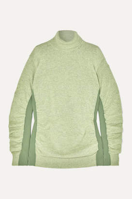MM6 MAISON MARGIELA Paneled Ruched Wool-blend Turtleneck Sweater - Light green