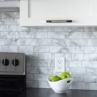 Carrera Smart Tiles Mosaik Metro 11.56 x 8.38 Peel & Stick Subway Tile in White and Gray
