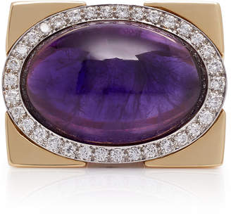 David Webb Jill Heller Vintage 18K Gold Vintage Amethyst And Diamond Ring