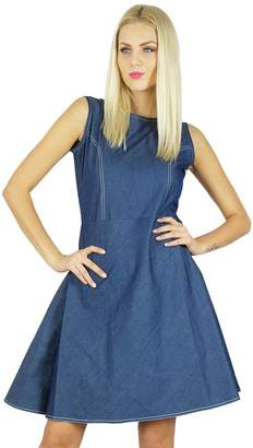 Bimba Women Casual Denim Shift Dress Above Knee Bohemian Clothing