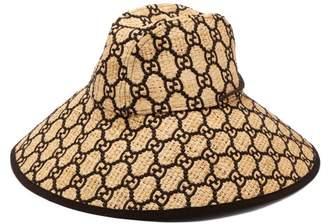 Gucci Gg Logo Wide Brimmed Raffia Hat - Womens - Beige