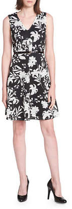 Tommy Hilfiger Iris Print Scuba Crepe Fit-and-Flare Dress