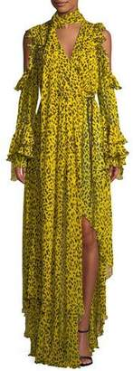 Diane von Furstenberg Ruffle Long-Sleeve Printed High-Low Maxi Dress