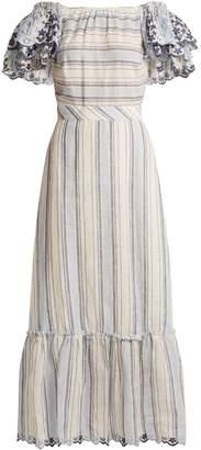 GÜL HÜRGEL Ruffled-sleeve striped linen dress