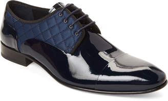 Jared Lang Navy Patent Leather Cross-Stitch Oxford Shoes