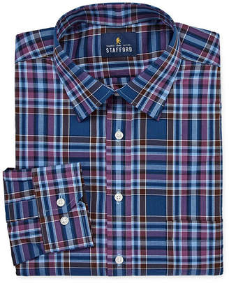STAFFORD Stafford Tartan Trend Easy-Care Stretch Mens Point Collar Long Sleeve Stretch Dress Shirt