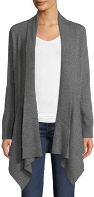 Neiman Marcus Fox-Fur Collared Cashmere Cardigan