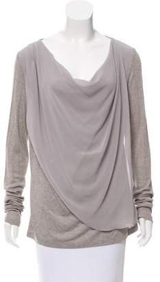 Velvet Draped Long Sleeve Top