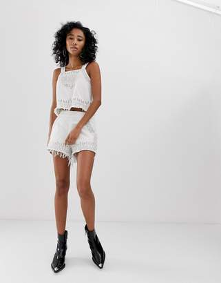 Blank NYC Snow Flake embroidered fringed hem denim shorts