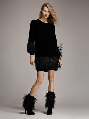 MICHAEL Michael Kors Feather-Embroidered Wool-Blend Dress