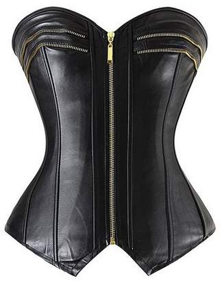 Hunter Little Women's Gothic Slimming Leather Overbust Lace up Zipper Corset and Bustiers
