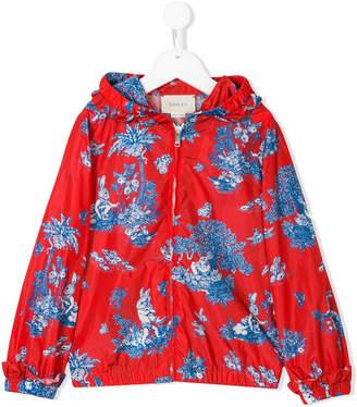 Gucci Kids hooded print zipped jacket