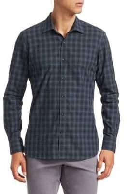 Saks Fifth Avenue MODERN Long Sleeve Plaid Shirt