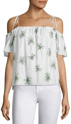 Milly Women's Eden Silk Cold-Shoulder Top