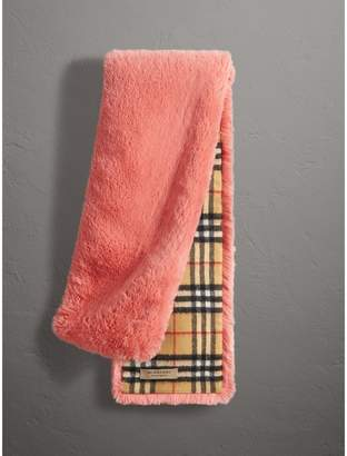 Burberry Vintage Check Cashmere And Faux Fur Scarf