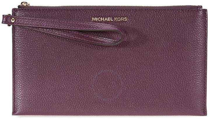 Michael Kors Mercer Large Pebbled Leather Wristlet- Damson - ONE COLOR - STYLE