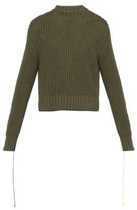 Jil Sander Raw Cuff Cotton Knit Sweater - Mens - Green