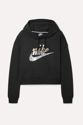 55db0de68398 Nike Rally Cropped Printed Cotton-blend Hoodie - Black