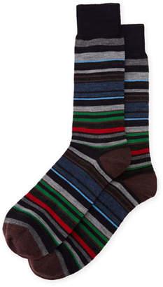 Neiman Marcus Multi-Stripe Wool Socks