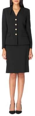 Tahari Arthur S. Levine Pebble Crepe Jacket and Skirt Suit