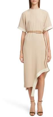 Victoria Beckham Leather Belt Asymmetrical Dress