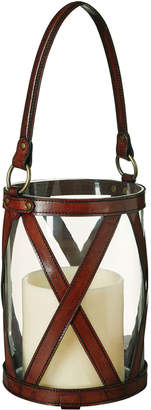 OKA Saddle Leather Cross Hurricane Lamp