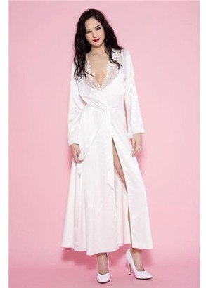 Music Legs Long White Satin Robe 53013-WHITE