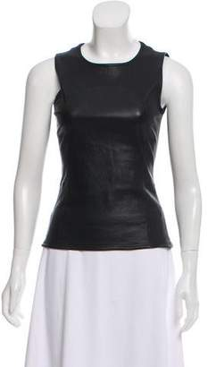Akris Punto Leather Sleeveless Top