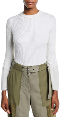 3.1 Phillip Lim Crewneck Rib-Knit Pullover Sweater with Sheer Chiffon