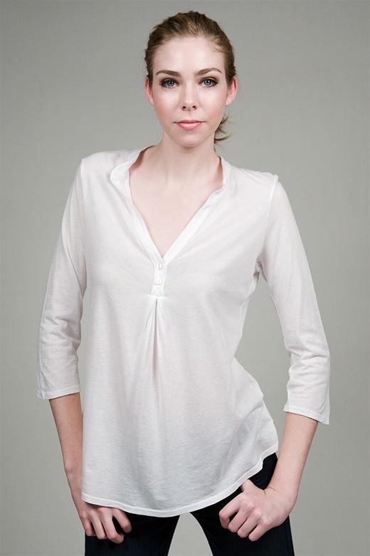 Ella Moss Ellasentials Henley in White