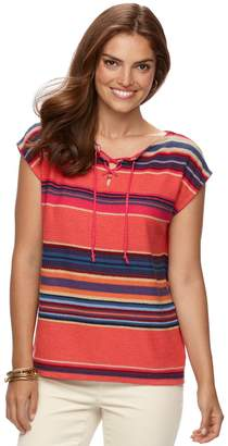 Chaps Women's Striped Linen-Blend Sweater