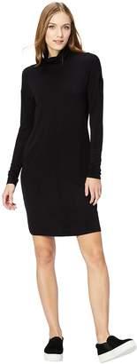 Daily Ritual Women's Long-Sleeve Turtle Neck Sweater-Knit Drop Shoulder Dress Dress