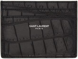 Saint Laurent Black Classic Croc-Embossed Card Holder $245 thestylecure.com
