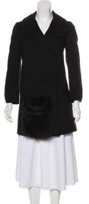 Prada Fur-Accented Wool Coat