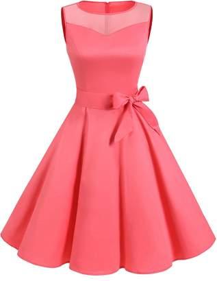 Dresstells reg; 50s Round Neck See Through Rockabilly Hepburn Party Swing Dress 3XL