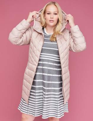 Lane Bryant Midi Packable Puffer Jacket with Thermoplume Technology - Blush