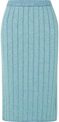 Marc Jacobs Ribbed Lurex Midi Skirt - Blue