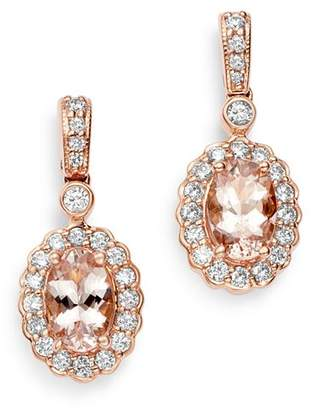 Bloomingdale's Morganite & Diamond Halo Drop Earrings in 14K Rose Gold - 100% Exclusive