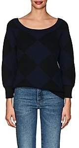 Nina Ricci WOMEN'S DIAMOND-PATTERN COTTON-WOOL SWEATER - NAVY SIZE S