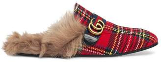 Gucci Princetown tartan slippers with Double G
